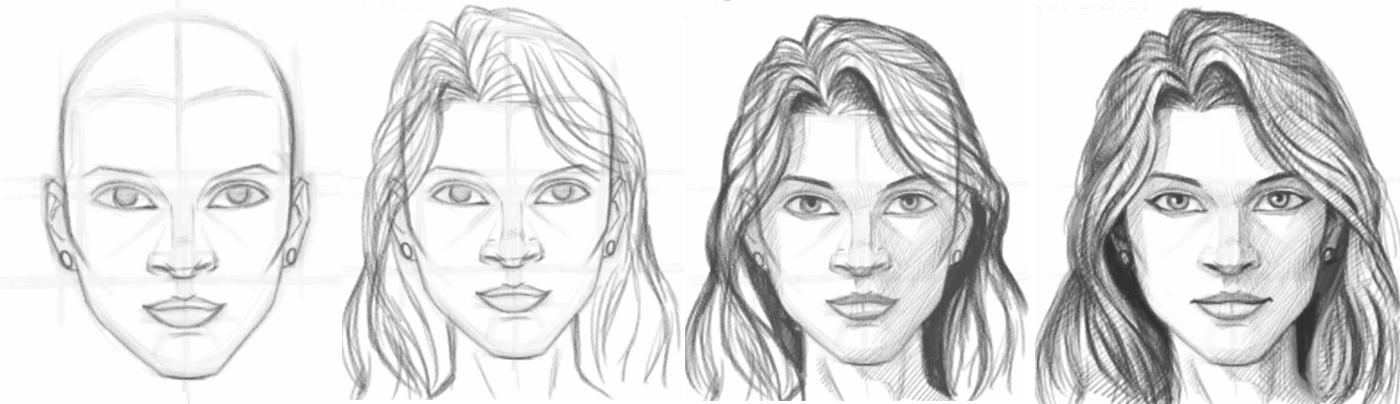 Учиться рисовать портреты для начинающих карандашом поэтапно 29