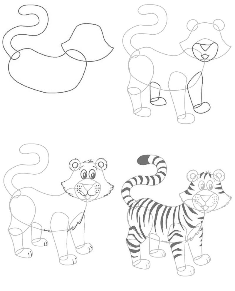 Рисунки тигрят 6