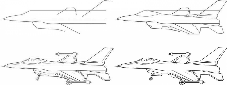 поэтапно карандашом рисунки самолета