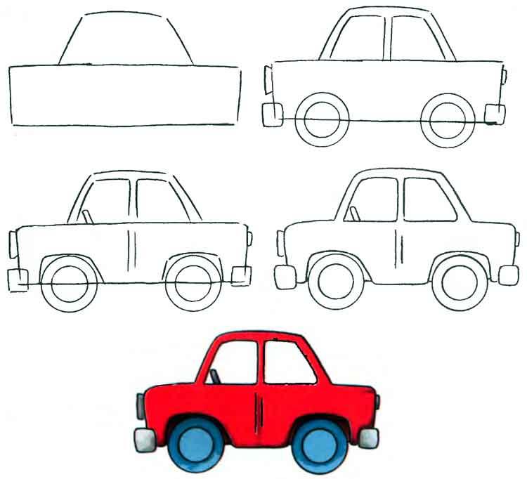 Рисунки автомобилей карандашом для детей