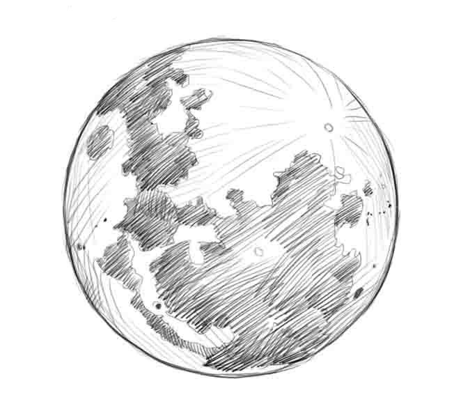 Как нарисовать луну поэтапно