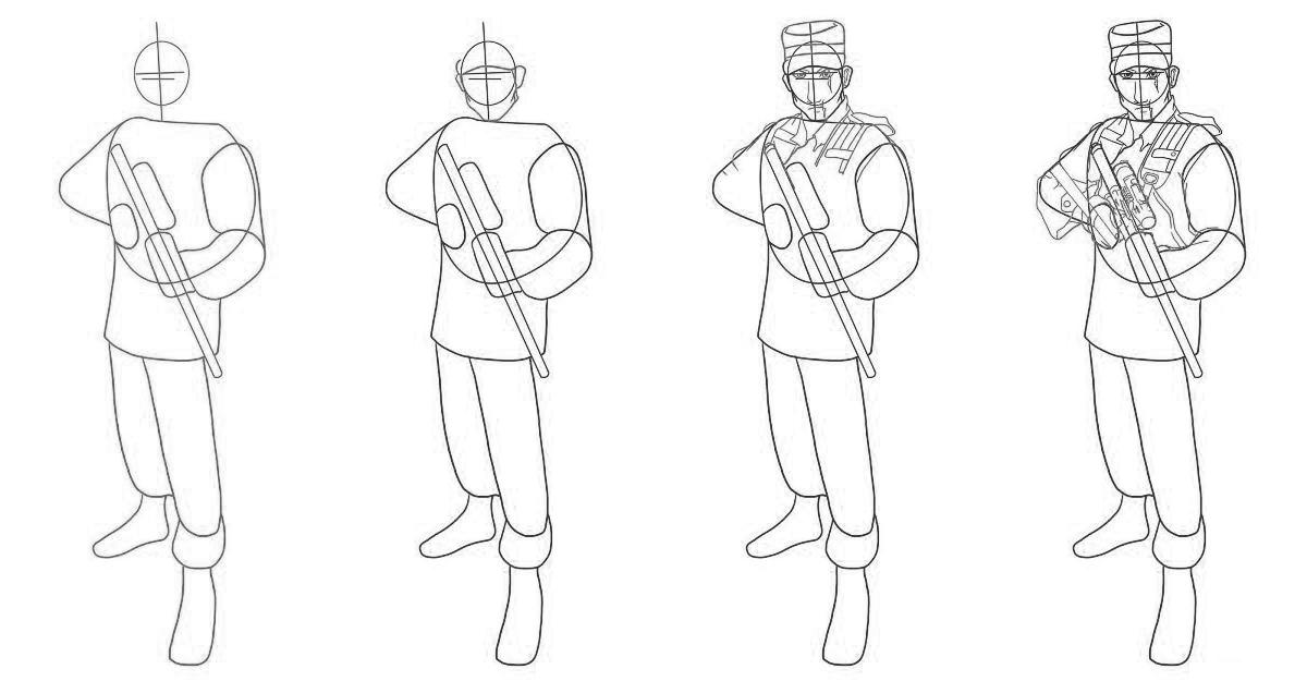 Як намалювати солдата? - уроки малювання