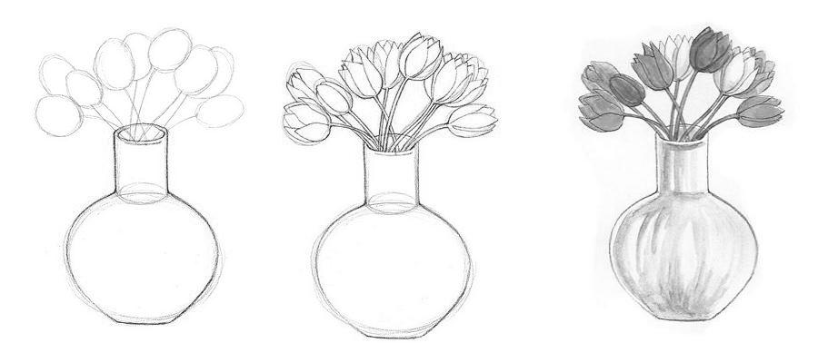 Поэтапно вазы с цветами